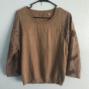 Anthropologie 3/4 sleeve embroidered sweater